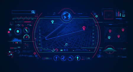 concept of gps navigation technology, interface of road map navigator