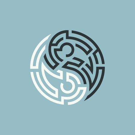 shape of yin yang symbol combined with maze