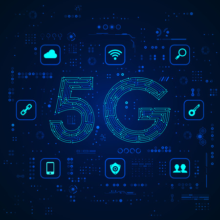 graphic of 5G combined with electronic pattern Ilustrace