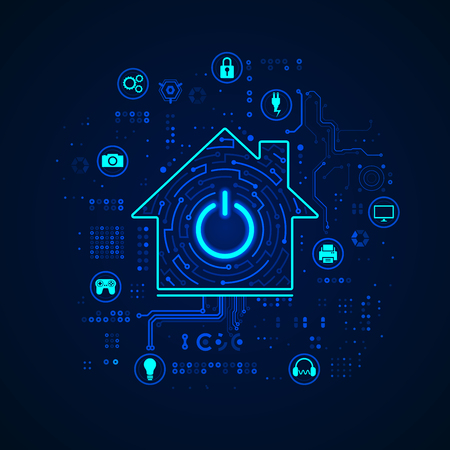 concept of smart home or internet of things, shape of a house with appliance icons