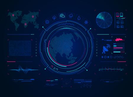 concepto de tecnología de pronóstico del tiempo, interfaz de radar satelital para el pronóstico del clima Ilustración de vector