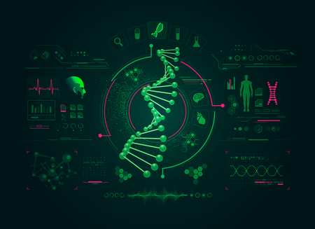 graphic of DNA strain  with biotechnology interface