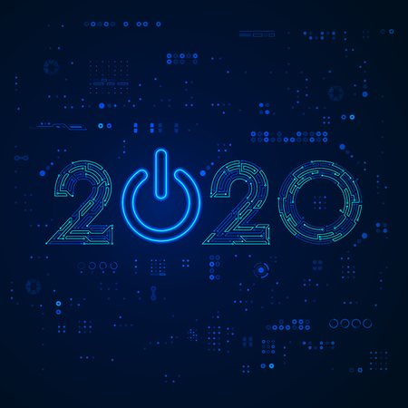 graphic of new year 2020 in technology style