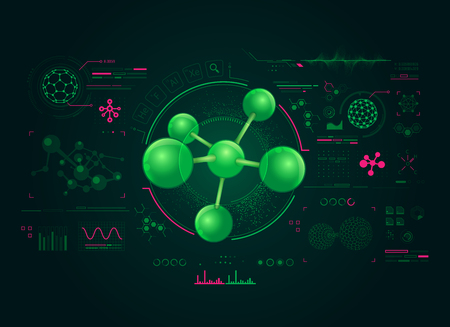 concepts of chemistry research, graphic of molecule structure with chemical interface Illustration