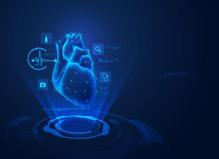 concept de technologie de cardiologie, coeur réaliste avec hologramme de soins médicaux