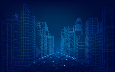 paesaggio urbano wireframe in stile futuristico Vettoriali
