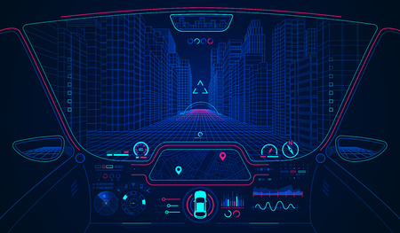 concept of future transportation or smart car, car cockpit with AI interface