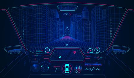concepto de transporte futuro o automóvil inteligente, cabina del automóvil con interfaz AI Ilustración de vector