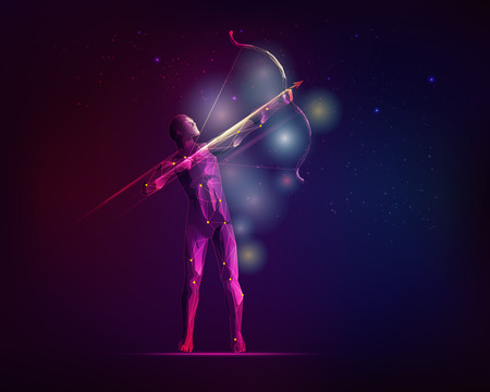 graphic of an archery with the galaxy stars background, concept of Orion emblem Ilustrace