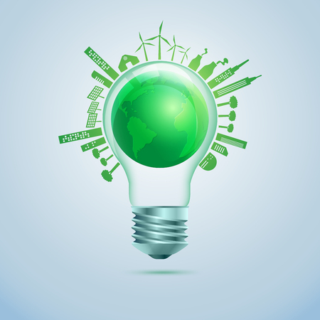 concept of green energy or ecology, realistic light bulb with globe inside