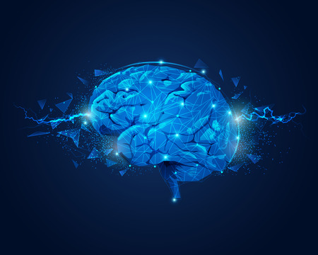 concept of brain power, graphic of brain with lightning and broken polygon element Vector Illustration