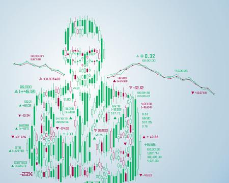 concetto di investimento in borsa, forma di uomo d'affari combinato con grafico a candele