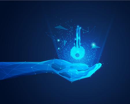 polygon hand holding futuristic key
