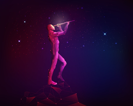 concept of astronomy technology, polygon man looking through telescope with galaxy stars background