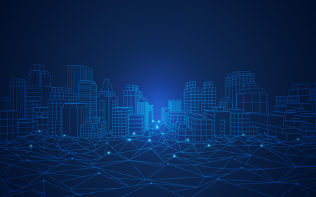 wireframe cityscape in futuristic style
