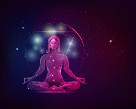 concept of meditation and spiritual development, graphic of female in meditating pose with galaxy stars background