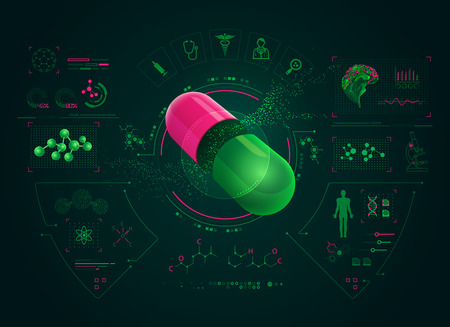 concept of pharmaceutical technology or medical health care, realistic pill with science analysis interface