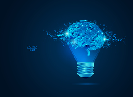 concept of creative thinking or big idea, lightbulb combined with bright brain