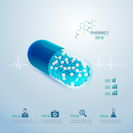 realistic pill for pharmaceutical infographic or medical health care theme