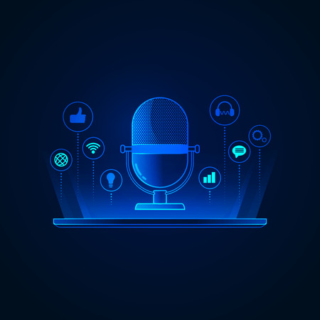 concept of podcast technology, graphic of microphone with digital device Illustration