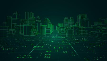 digital buildings in futuristic style