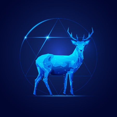 low poly deer in futuristic style with circle and star symbol background