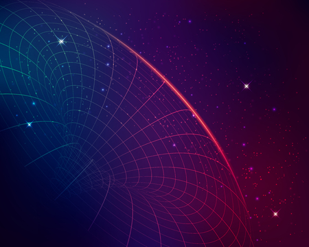 concept of black hole, graphic of wireframe shape with galaxy star background