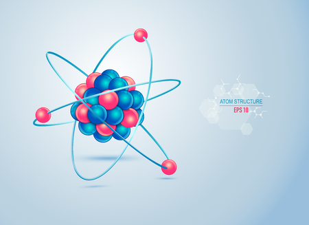 model of atom structure for infographic