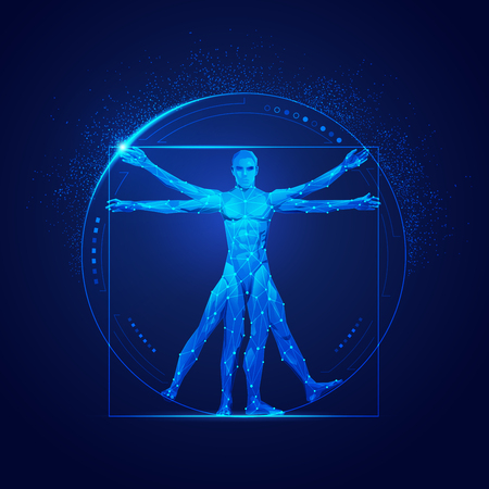 graphic of vitruvian man in futuristic style