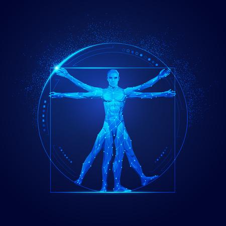 graphic of vitruvian man in futuristic style