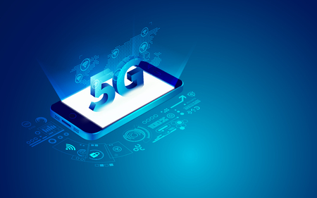 concept of communication technology advancement, 5G symbol with telecommunication element