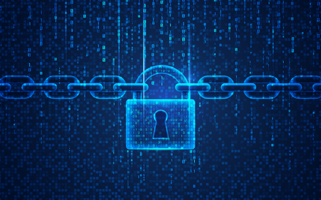 concept of cyber security, graphic of padlock with chain on digital binary code background Ilustrace