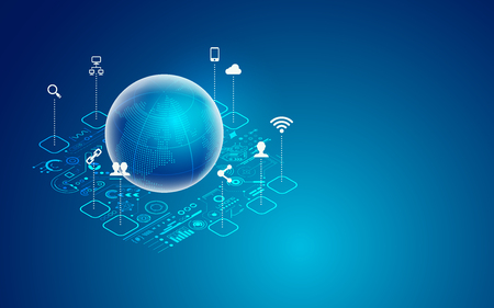 concept of global network or iot, graphic of global technology with with digital futuristic icons Illustration