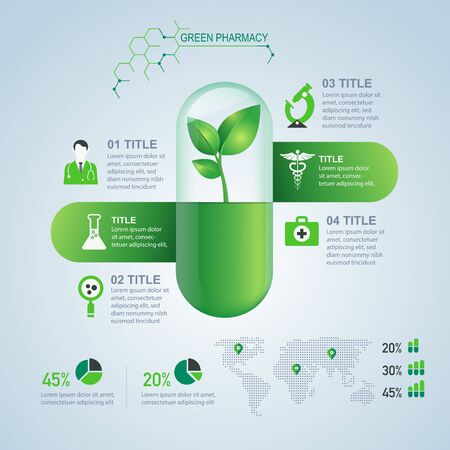 template of green pharmacy infographic for decorative design Illustration