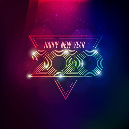 2020 happy new year in vivid style for decoration