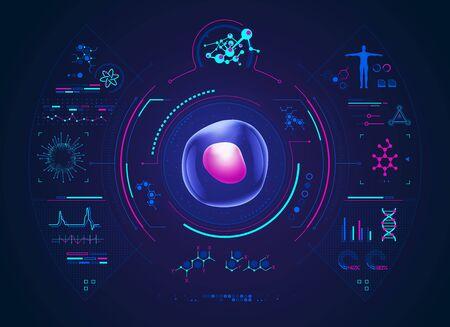 concetto di avanzamento della tecnologia biologica, grafica della cellula con interfaccia di biologia