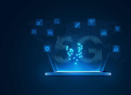 concept of communication technology, 5g sign with digital technology element Иллюстрация