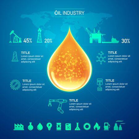 infografica dell'industria petrolifera e del gas con sfondo blu