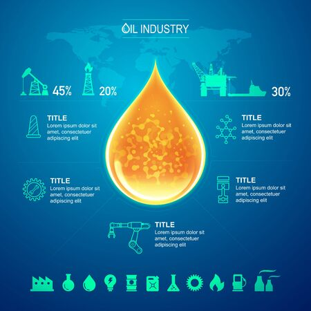 oil and gas industry infographic with blue background Ilustracja