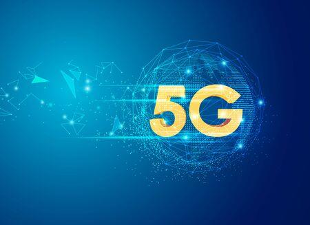 Konzept des Fortschritts der Kommunikationstechnologie, goldenes 5G mit digitalem globalem Element Vektorgrafik