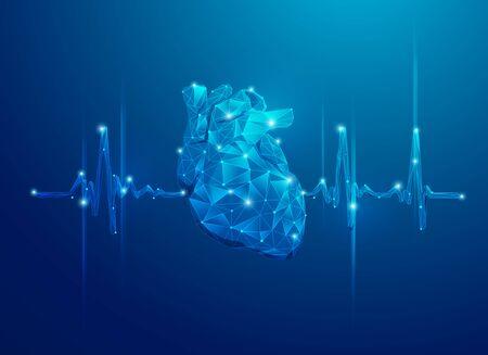concetto di cardiologia o tecnologia sanitaria, cuore poligonale blu con impulso del battito cardiaco Vettoriali