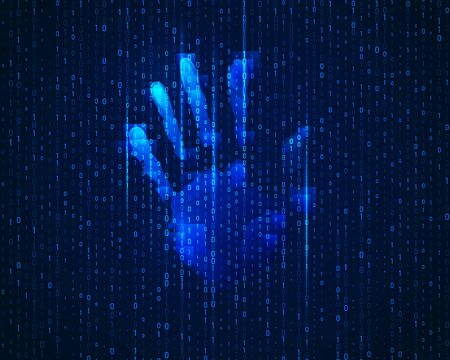 concept of cyber identification, digital handprint with binary code background