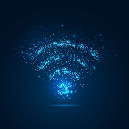 conccept of communication technology, dotted wifi sign with blue particle
