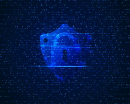 concept of cyber security, shape of padlock and shield with programming code