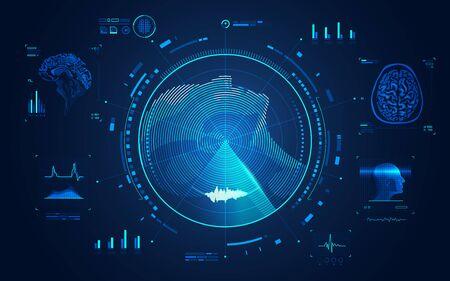 Konzept der MRT-Scan-Technologie, Seitenansicht des Kopfes des Menschen mit Röntgenschnittstelle des Gehirns Vektorgrafik