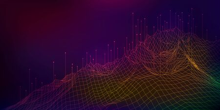 concept of big data technology, coloful low poly terrain with element 일러스트