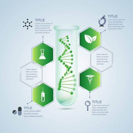 concept of biological research technology or synthetic biology, realistic test tube with DNA inside Иллюстрация