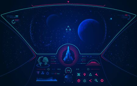 graphic of spaceship user interface with galaxy view