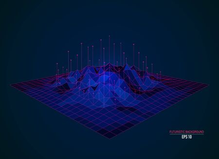concept of big data technology, coloful low poly terrain with element Archivio Fotografico - 131830444
