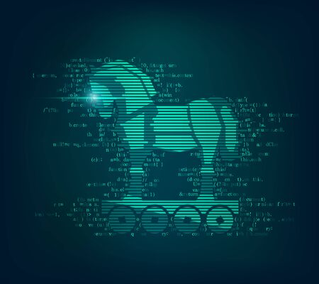 concept of computer virus on the internet, trojan horse combined with coding program Stock Illustratie